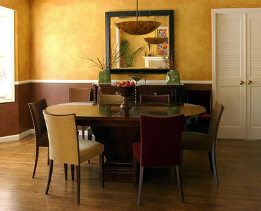 Decorative painting faux finish on wall in dining room
