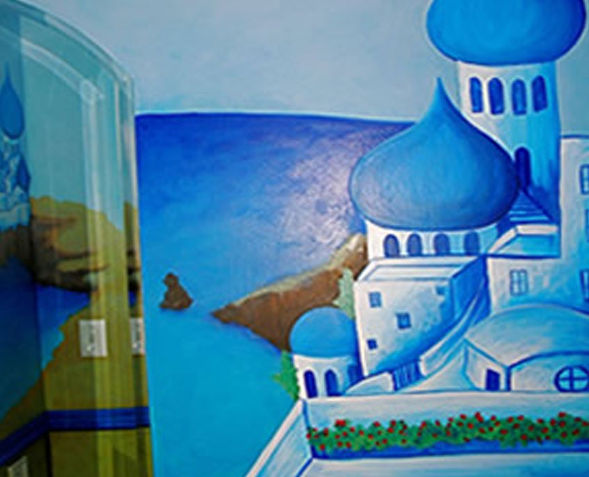 Decorative painting mural of Greece
