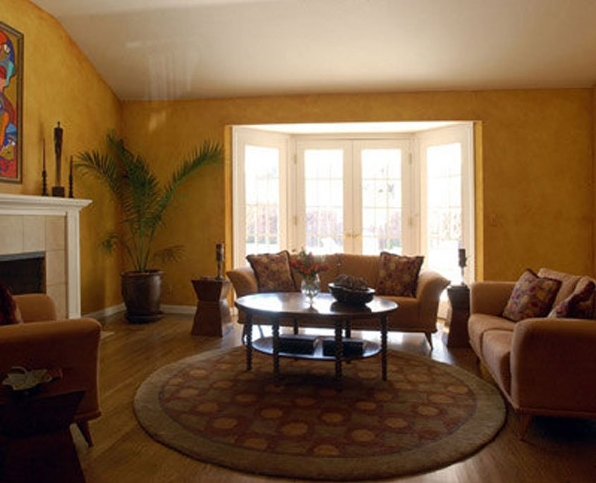 Decorative painting faux finish in living room