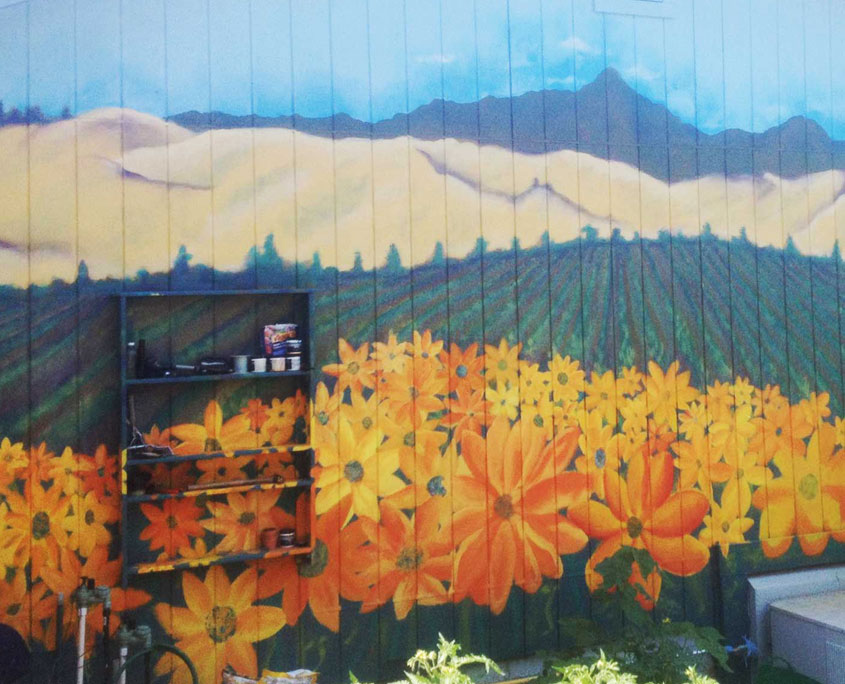 Decorative painting mural of farm fields and flowers