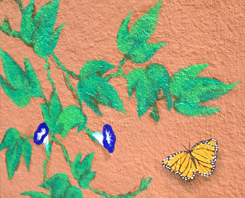 Decorative painting butterfly and leaves mural