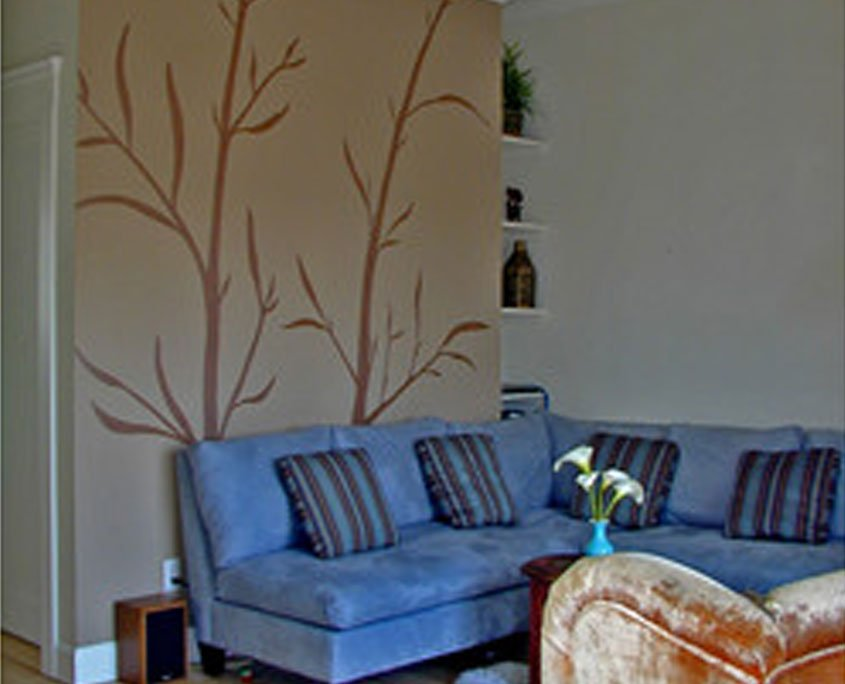 Decorative wall painting bamboo silhouette