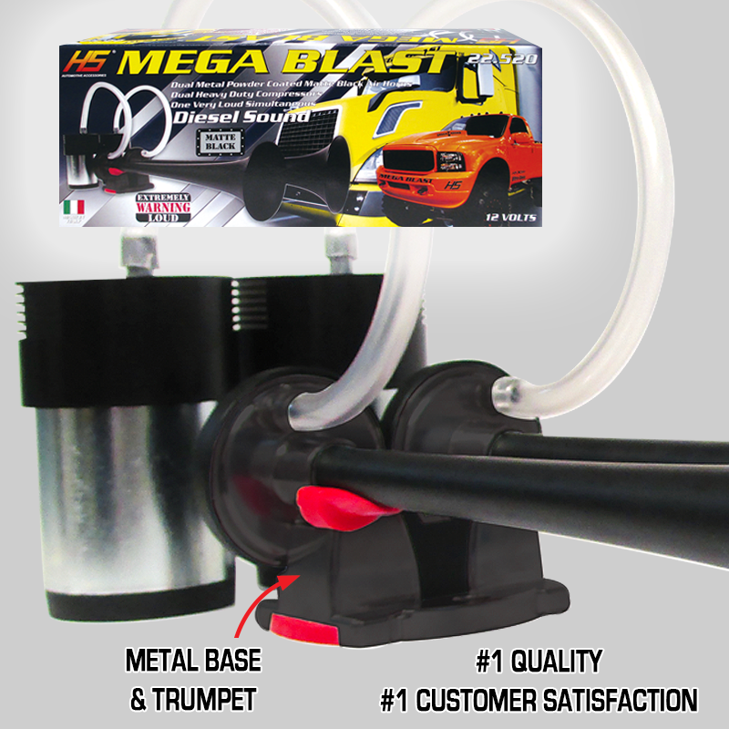 Chrome 2-Pack Made in Italy HS Heavy Duty Mega Blast Horns Extremely Loud