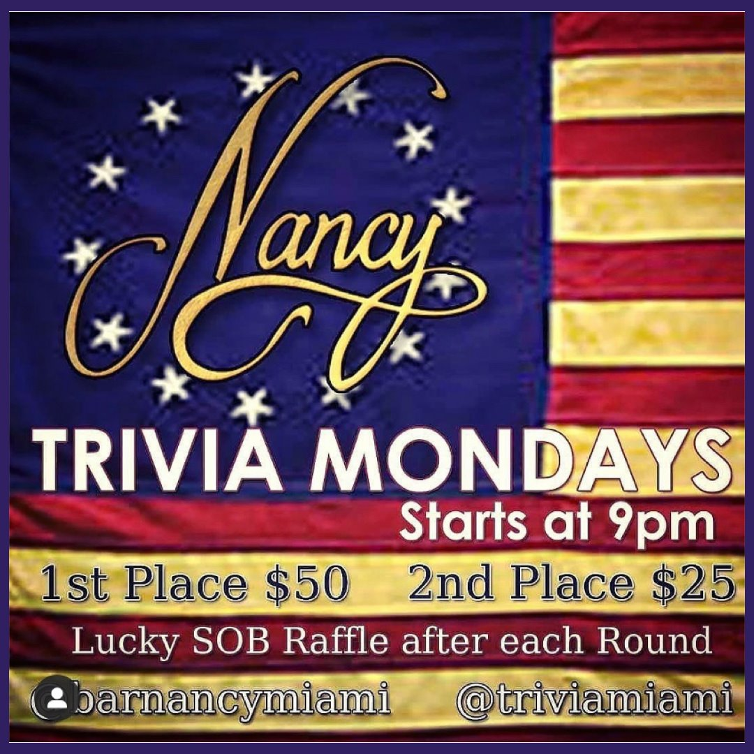 Team Trivia Mondays at Bar Nancy!