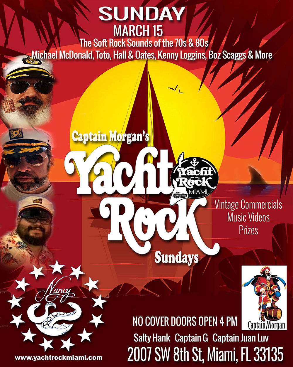 Captain Morgan's Yacht Rock Sundays at Bar Nancy!