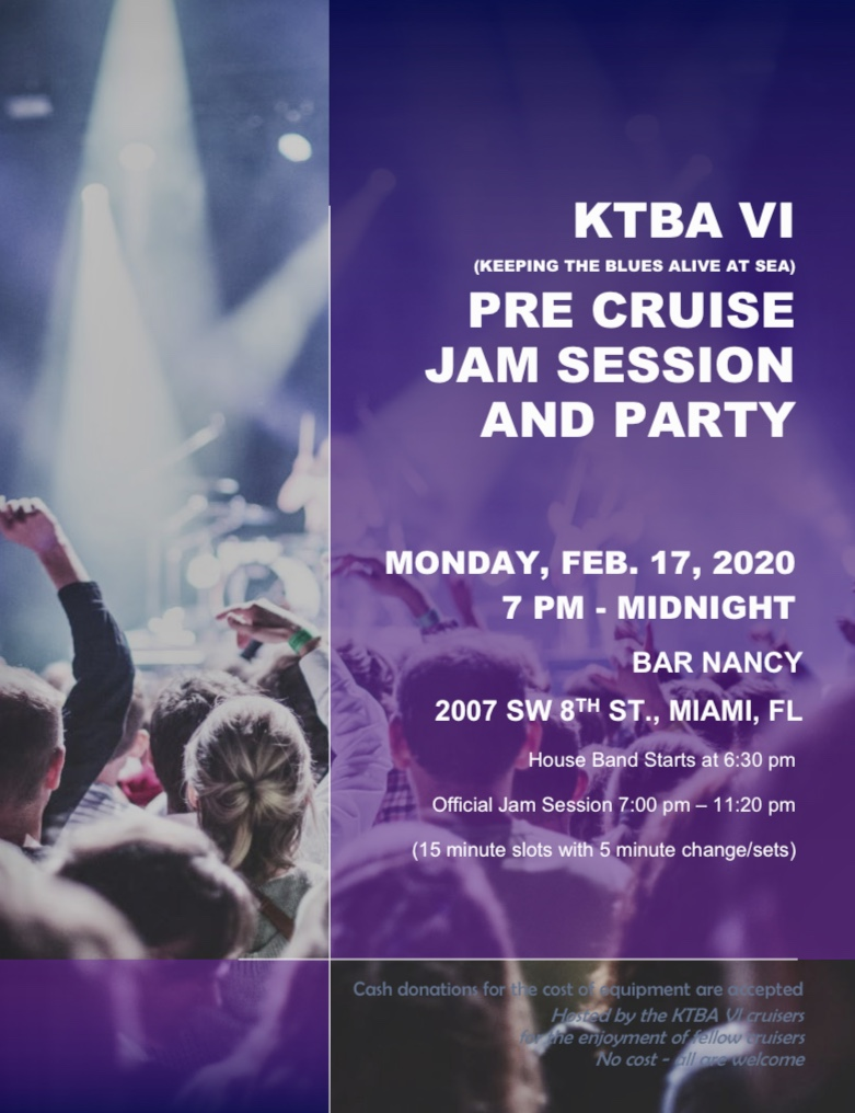 KTBA VI Pre-cruise party and jam session at Bar Nancy