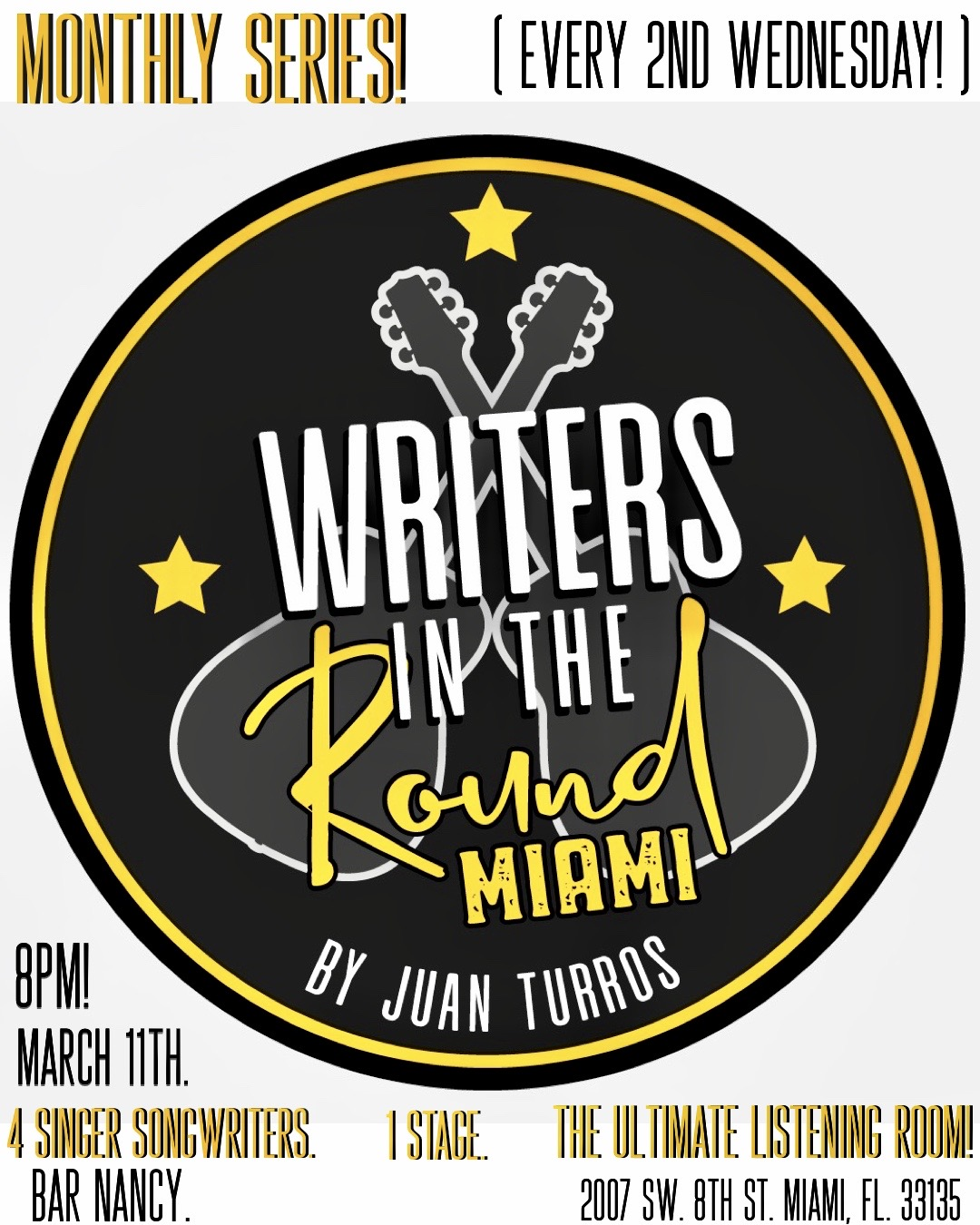 Writers in the Round! Hosted by Juan Turros! at Bar Nancy