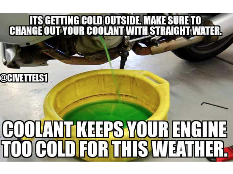 Fake Car Life Hack: Its Getting Cold Outside. Replace Your Coolant With Water