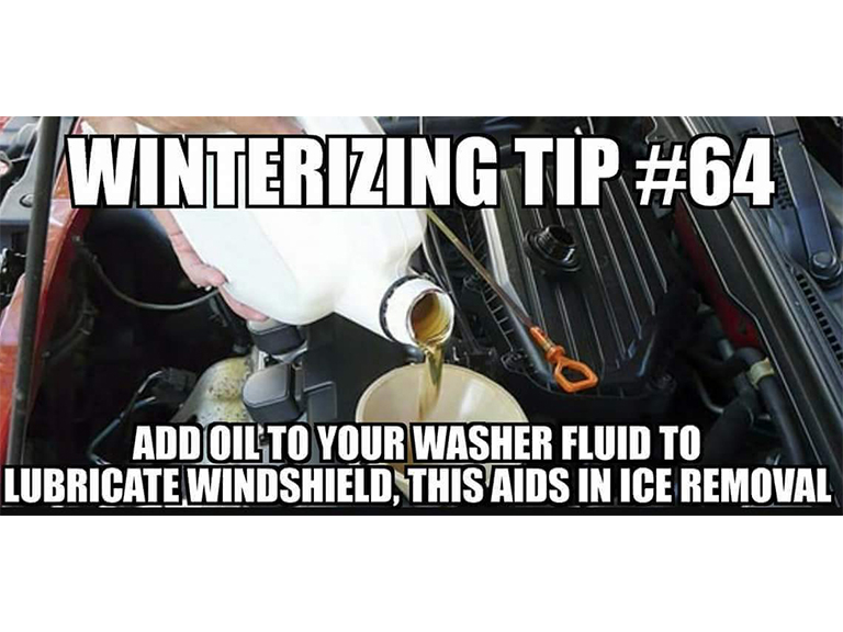 Fake Car Life Hack: Add Oil To Your Washer Fluid To Lubricate Windshield, This Aids In Ice Removal