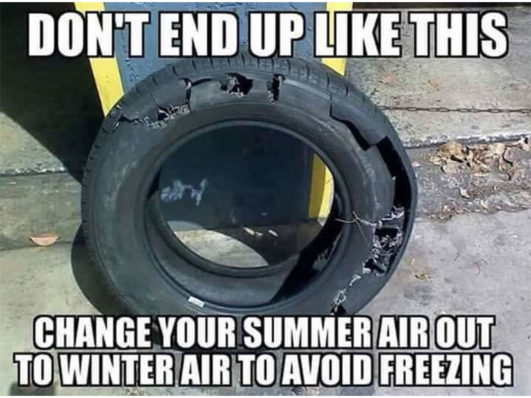 Fake Car Life Hack: Change Out your Summer Air To Winter Air To Avoid Your Tires Freezing