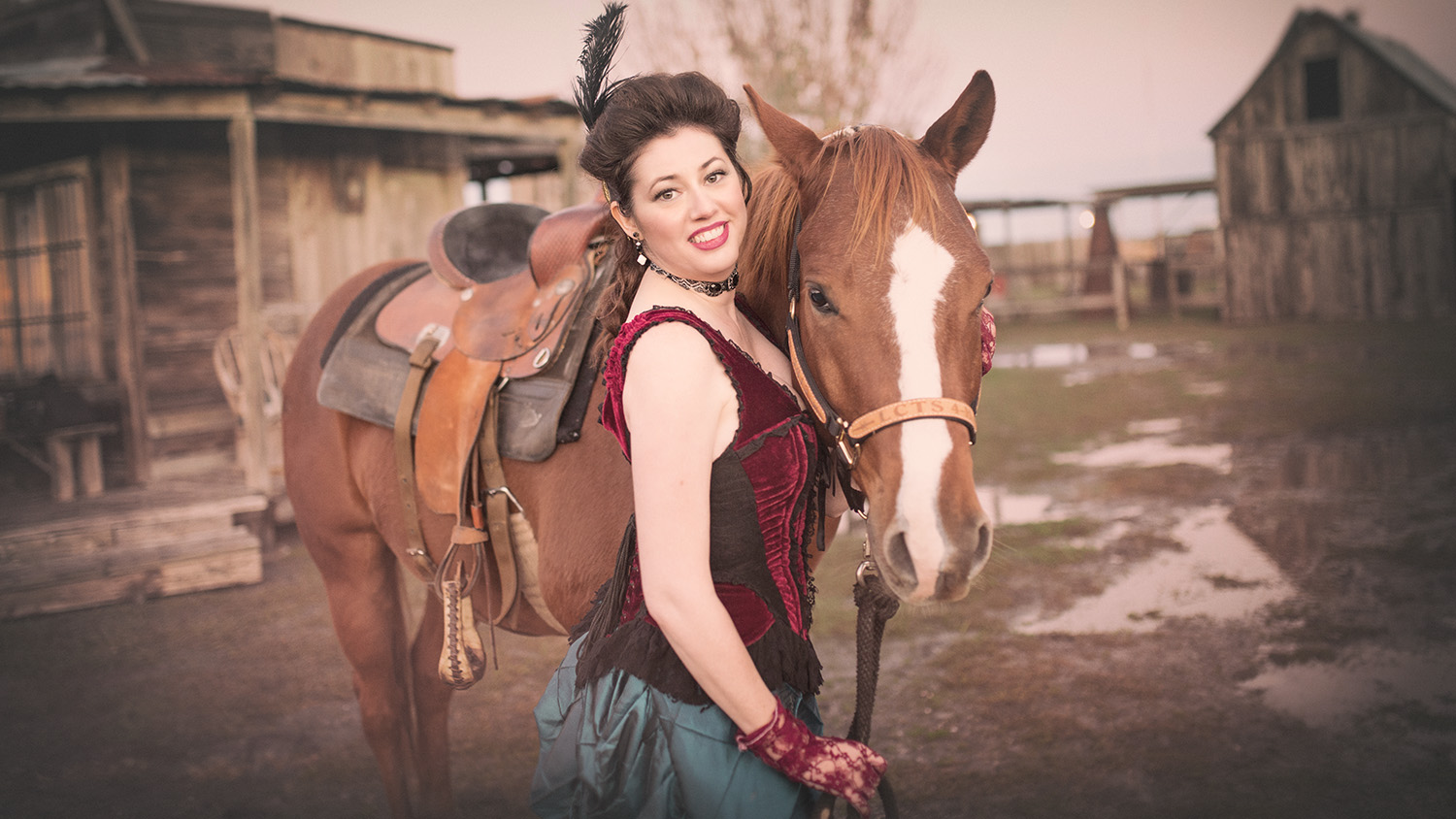 showgirl portrait with horse Wild West at J Loraine Ghost Town