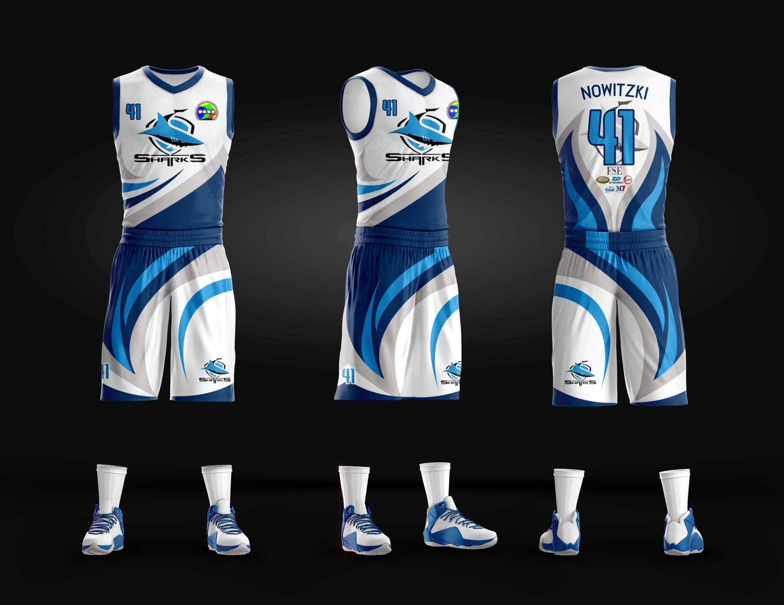 Sharks Full Sublimation Basketball Jersey
