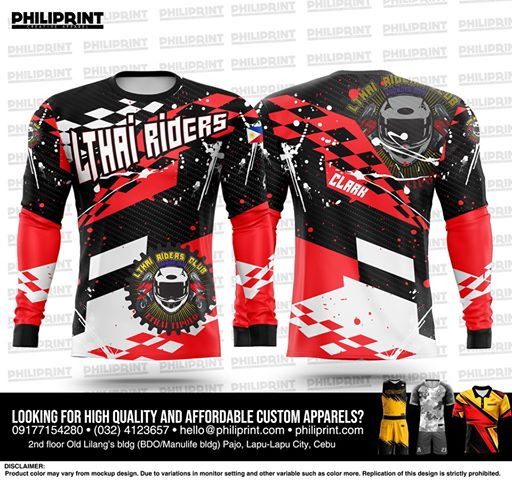 Philiprint Motorcycle Jersey Long Sleeve Full Sublimation LTHAI RIDERS