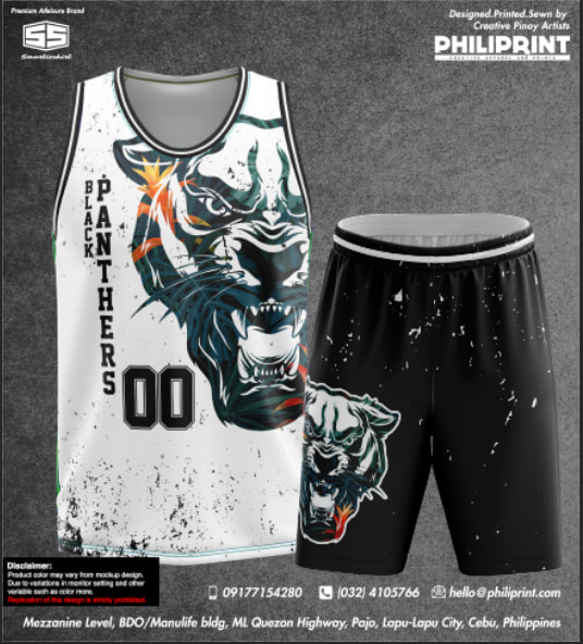 Philiprint BLACK PANTHERS Full Sublimation Basketball Jersey