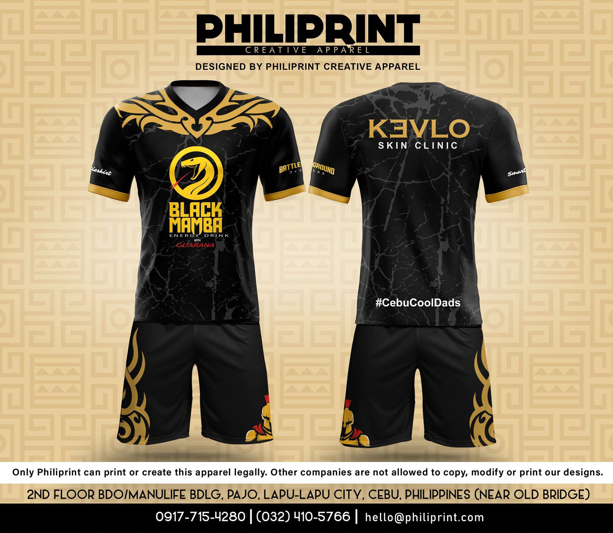 Philiprint Football Jersey Full Sublimation BLACK MAMBA KEVLO SKIN CLINIC