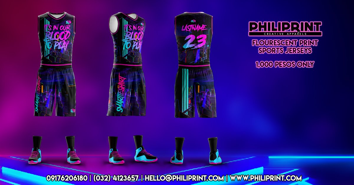Philiprint Flourescent Print Basketball Jersey Full Sublimation