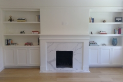 built in bookcase fire mantle floating shelves