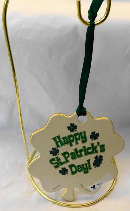 Disney Irish Leprechaun Mickey Disc Christmas Ornament New Back