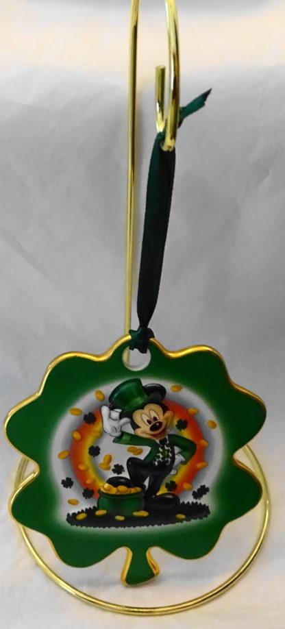 Disney Irish Leprechaun Mickey Disc Christmas Ornament New Front