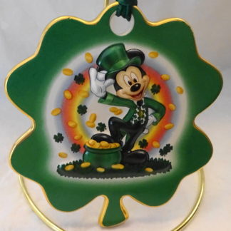 Disney Irish Leprechaun Mickey Disc Christmas Ornament New Front Closeup