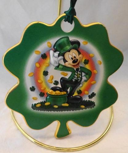 Disney Irish Leprechaun Mickey Disc Christmas Ornament New Front Closeup