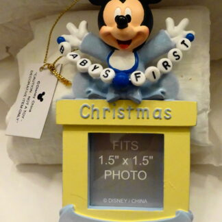 Walt Disney Parks and Resorts Mickey Mouse Baby Boy First Christmas Photo Frame Ornament New Front