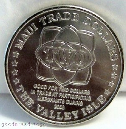 Maui Trade Dollar Whale Hula Dancer 2008 Copper-Nickel Coin Uncirculated Back