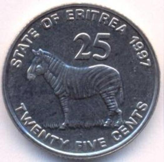 UNC African coin Leopards Eritrea 5 Cents 1997