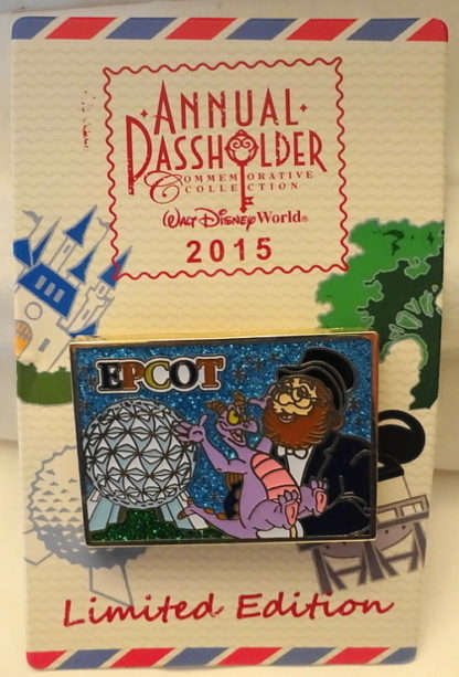 Disney Figment Dreamfinder Pin Annual Passholder 2015 Postcard Series New On Card Front