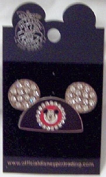 Disney Silver Ears Pin Mickey Jeweled New On Card Front