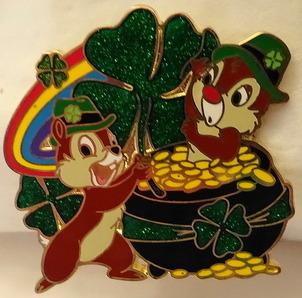Disney St Patrick's Pin Chip 'n' Dale Pot 'o' Gold New Front