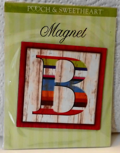 Pooch & Sweetheart B Initial Flat Magnet Front