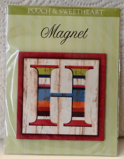 Pooch & Sweetheart H Initial Flat Magnet Front