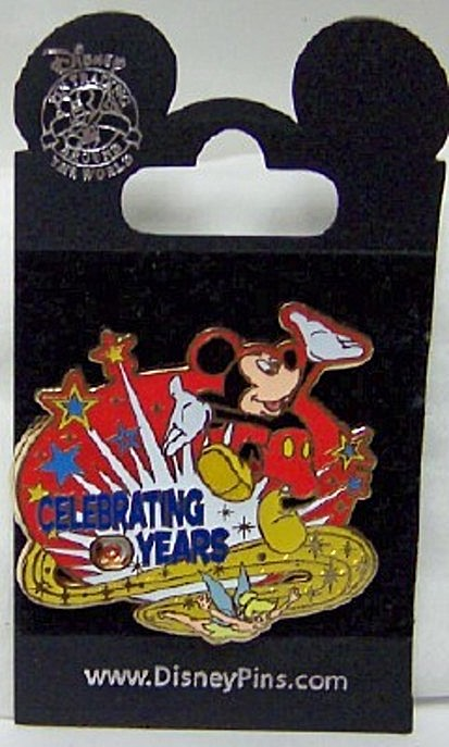 Disney Celebrating Years Pin Mickey Tink Spinner On 10 New On Card Front