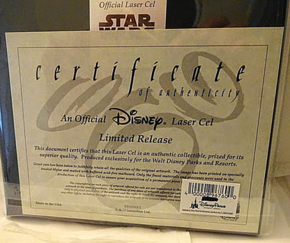 Mickey With Yoda Laser Cel Limited Release New Back Certificate Of Authenticity Closeup