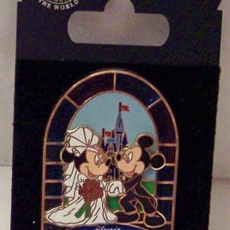 Disney Fairy-Tale Weddings Pin Mickey Groom Minnie Bride New On Card Front