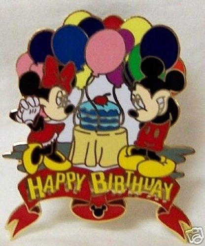 Disney Happy Birthday Balloons Pin Mickey Minnie New Front