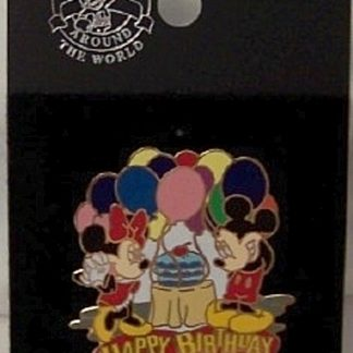 Disney Happy Birthday Balloons Pin Mickey Minnie New On Card Front