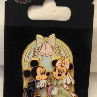Disney Mickey Groom Minnie Bride Wedding Chapel Pin New On Card Front