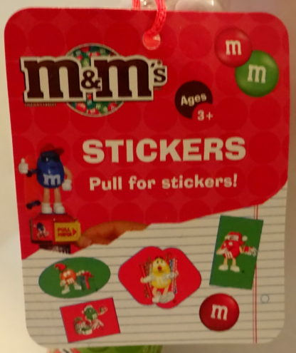 M&M'S Red 2009 Stickers + Chritmas Stamper New With Tag Closeup Of Tag 1