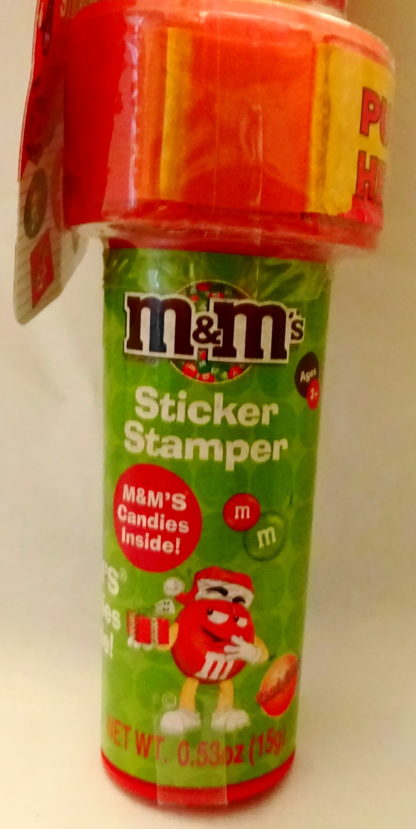 M&M'S Yellow 2009 Stickers + Chritmas Stamper New With Tag Front Bottom Closeup