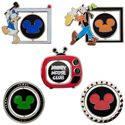 Disney Mickey Mouse Club Limited Edition 500 Pin Set - 5-Pc Out Of Box Logo Sides Stock Photo