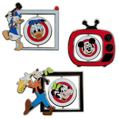 Disney Mickey Mouse Club Limited Edition 500 Pin Set Donald, Mickey and Goofy Out Of Box Character Sides Stock Photo