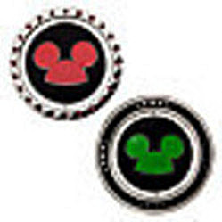 Disney Mickey Mouse Club Limited Edition 500 Pin Set -Minnie and Pluto Out Of Box Logo Sides Stock Photo