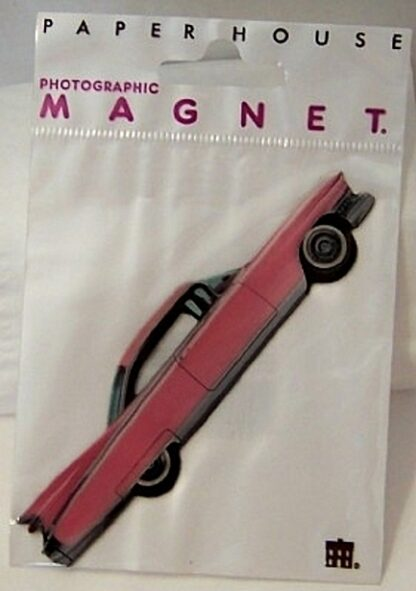 Retro Pink Cadillac Magnet Photographic Flat New In Pack Front