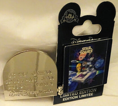 Disney WDW Star Tours 25th Anniversary LE Hinged Pin New On Card Front Pin Open