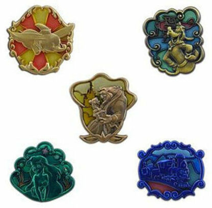 Disney WDW 2013 Annual Passholder New Fantasyland Stained Glass 5 Pin Set New