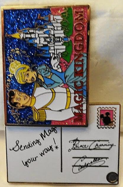 Disney WDW Cinderella & Prince Postcard Passholder 2015 LE Pin New Front Open