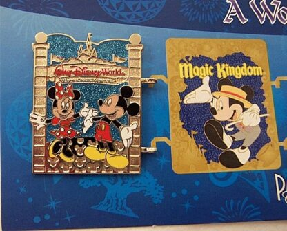 Disney WDW Mickey Minnie Passholder A World Of Magic 2013 Pin New On Card Front Closeup