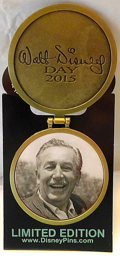 Disney WDW Walt Disney Day 2015 LE 5000 Hinged Pin New On Card Front Pin Open